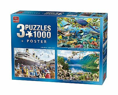 3 in 1 set 1000 Piece Jigsaw Puzzles Titanic, Norway & World Wonders 05130