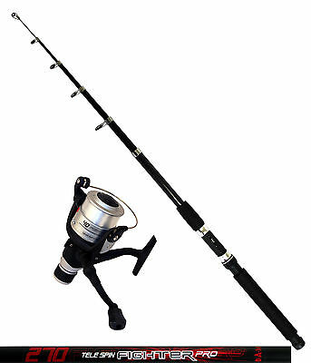 DAM Angelset Rute Tele Spin Fighter Pro 2,70m Angelrolle Quick Fighter 140RD