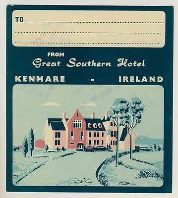 Great Southern Hotel KENMARE Ireland * Old Luggage Label Kofferaufkleber