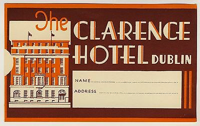 The Clarence Hotel DUBLIN Ireland * Old Luggage Label Kofferaufkleber