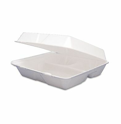 Dart Foam Hinged 3 Compartment Togo Boxes Small 200 ct Keeps Food Hot & Cold