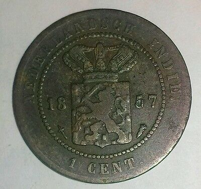 1857(u) NETHERLANDS EAST INDIES 1 CENT  KM-307.2 (10 COINS W/CON SHIP $3.61 USA)