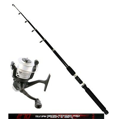 DAM Angelset Rute Tele Spin Fighter Pro 2,70m Angelrolle Quick Fighter 120RD
