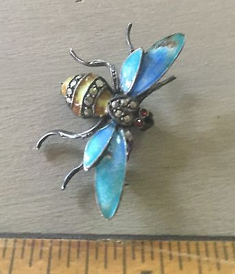 VeryCool Vintage Enameled Wasp Pin-Awesome Detail-Sterling Silver-Jeweled-Unique