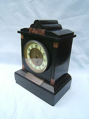 "Mantel clock vintage slate 10.5"" tall Pearce & Sons Paris ceramic face 1899   S1"