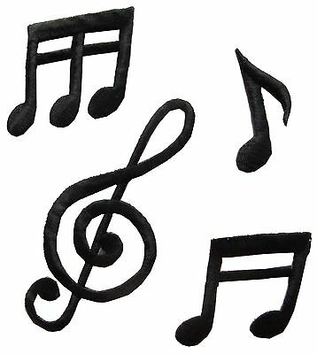 #2404 Lot 4Pcs Black Music Notes Embroidery Iron On Applique Patch