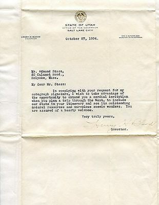 1934 Autograph Letter Signed by Henry Blood Governor of Utah FD3622
