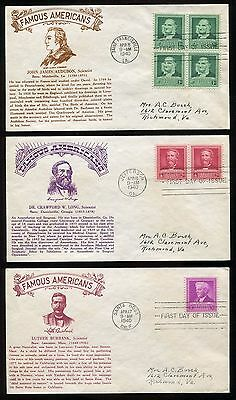 #874-78 1940 Famous American Scientists FDC Set of 5 Crosby Thermo Cachet FD3615