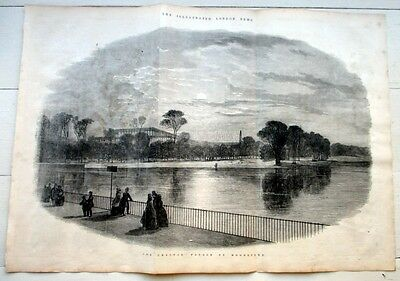 1851 Crystal Palace by Moonlight Engraving Illustrated London News Print