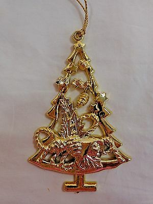 "Christmas Tree Ornament 4"" Gold Plastic Bell Pine Cones Stars Bow"