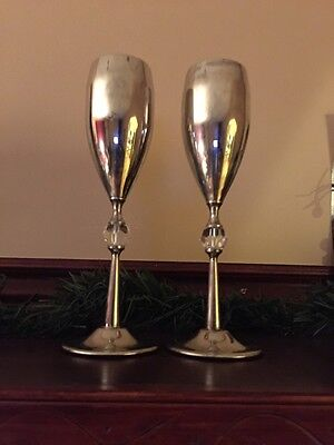 2 Silver Plated Toasting Champagne Glasses