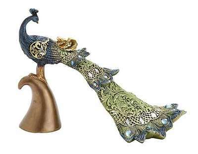 Masterpiece Flowing Peacock Feathered Plumes with Embedded Stones Decor Statue