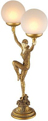 """28"""" Art Deco Demure Miss Dancer Frosted Glass Globes Illuminated Statue Lamp"""