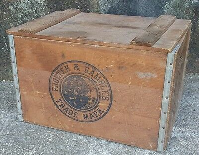 Vintage Procter & Gamble Ivory Soap Wooden Crate w/ Hinged Lid 18X12 Moon Stars