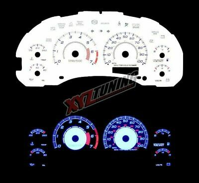 BLUE Reverse El Indiglo Glow White Gauge Face For 98-01 Bravada MT 7000 RPM