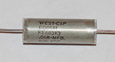WEST CAP PAPER IN OIL CAPACITOR 0.068uF 400v 10% CQ05A1 - 68nF 400v USA