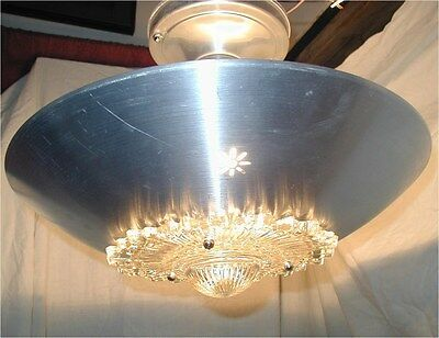 Vtg Art Deco Sunburst Starburst 50S Chandelier Aluminum Kitchen Light Fixture