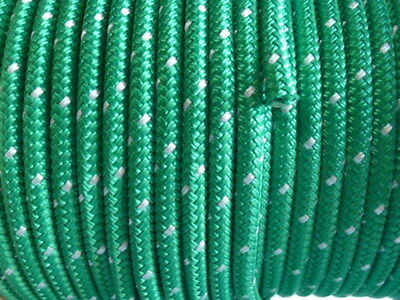 Polyester Double Braided Rope 8mm x 100m, Green/White Fleck Proceans
