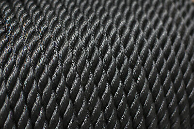 Nylon 3 Strand Twisted Rope 14mm x 100m, Black