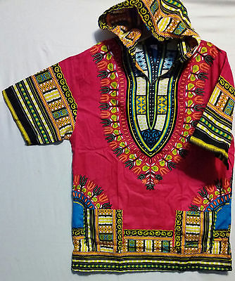 Men Women African Dashiki Hoodie Top W/ Hood Traditional Pink Yellow S M L