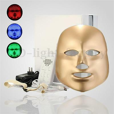 Photon LED Facial Mask Skin Rejuvenation Beauty Therapy 3 Colors Light NEW