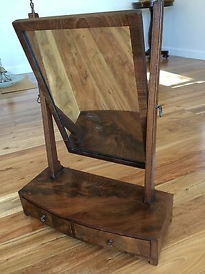 Antique Georgian Mahogany Bow-Front Toilet Mirror with Drawers