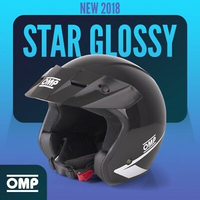 NEW 2018 Open Helmet OMP STAR BLACK GLOSSY L 59cm ABS Rally Race LIMITED EDITION