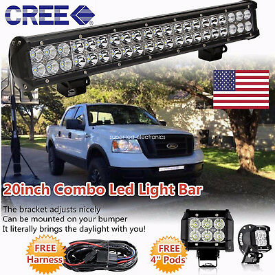 """20inch CREE LED Light Bar Combo +2X 4"""" Work Pods Offroad Driving SUV Truck 4WD"""