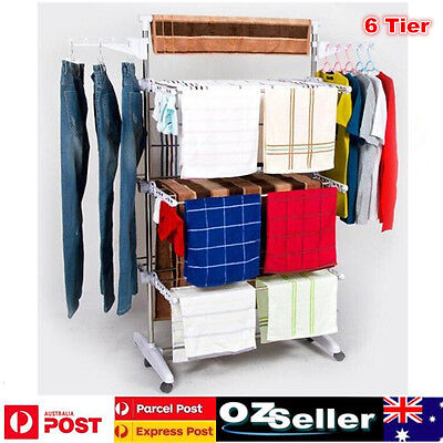 Foldable 6 Tier Stainless Steel Clothes Airer Rack  Laundry Drying Rack Hangers