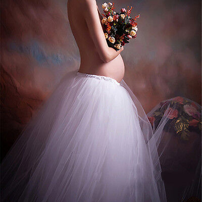 Maternity Photography Props Long Lace Tulle Dress Clothes Skirt Photo Shoot