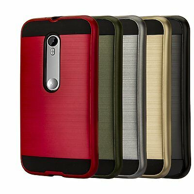 New Hybrid Brushed Shockproof Rugged Impact Armor Case Cover For Motorola Phones