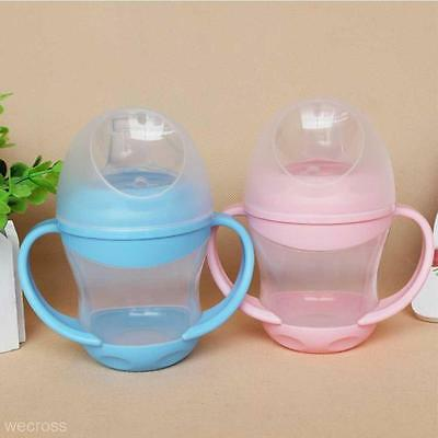 Baby Kid Toddler Duckbill Mouth Drinking Feeding Straw Bottle Handle Sippy Cup