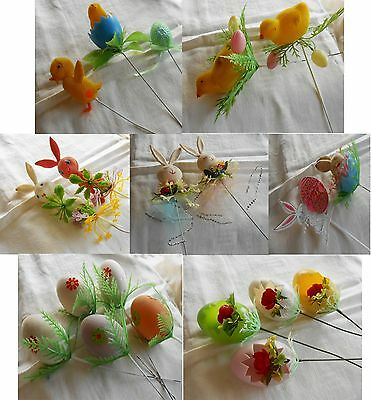 18 Pc Lot Vintage EASTER PICKS Flocked Chicks Bunnies Flowers Eggs on Wires 1960