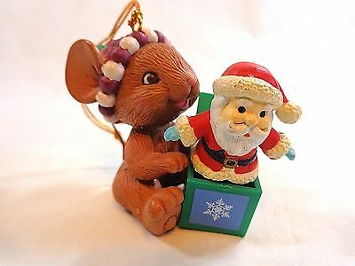 Lustre Fame Christmas Ornament Mouse with Santa Jack in Box Vintage 1993 No Box