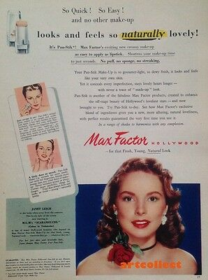 Original Vintage British Ad: Max Factor Hollywood. Janet Leigh. (1952)
