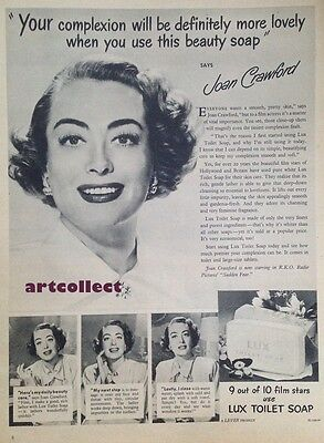 Original Vintage British Ad: Lux Toilet Soap. Joan Crawford. (1952)