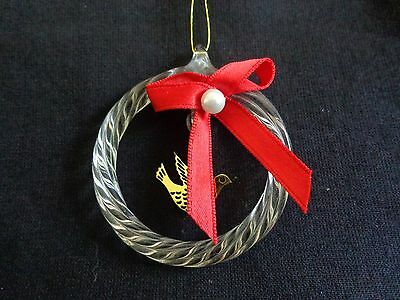 "Wreath Christmas Ornament 2"" White Twisted Glass Gold Dove Bird Red Fabric Bow"