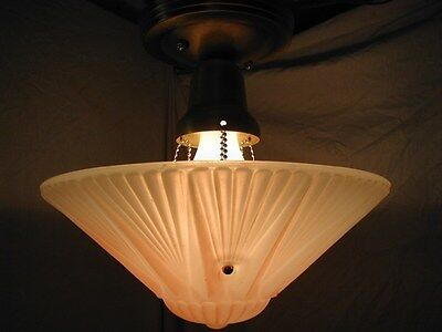 VTG 30S ART DECO starburst pink SHADE GLASS 3 CHAIN CHANDELIER LIGHT FIXTURE