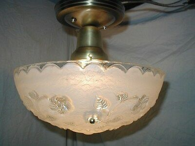 VTG 30S ART DECO white vine floral SHADE GLASS 3 CHAIN chandelier LIGHT FIXTURE