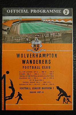 Wolves V Manchester United 1957/58 Munich Disaster Season League Division 1