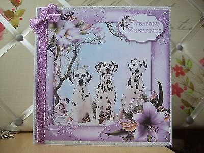 Handmade Dalmatians Christmas Card Dog Puppy Merry Greetings Lilac Flowers