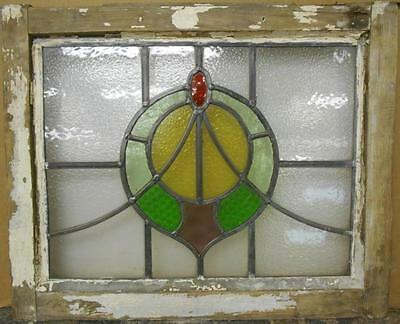 "OLD ENGLISH LEADED STAINED GLASS WINDOW Nice Wreath Swoop 20.25"" x 16.75"""