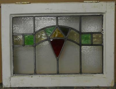 "OLD ENGLISH LEADED STAINED GLASS WINDOW Pretty Geometric Design 20.25"" x 15"""