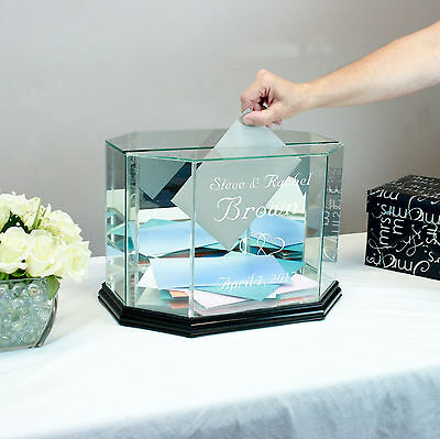 Personalized Glass Wedding Card Box Octagon - Card Holder - Free Engraving
