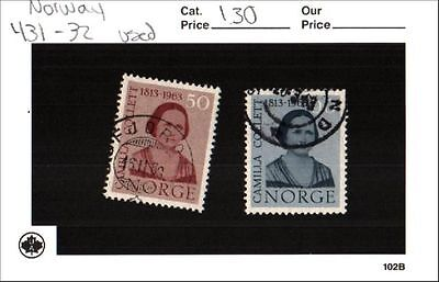 Norway Stamp Lot Scott 431 - 32 Used Low Combined Shipping