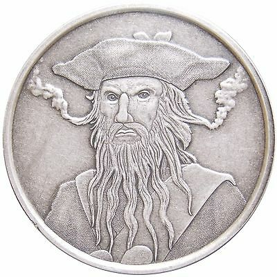 Blackbeard - Captain Edward Teach 1 oz .999 Silver Antique Round USA Made Coin