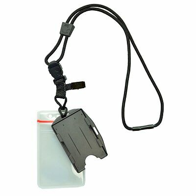 Heavy Duty No Swing Nylon Lanyard with 2 Dual ID Badge Holders by Specialist ID