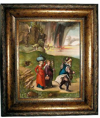 Durer Lot and His Daughters 1496 -Antique Gold Framed Canvas Print Repro 12x14