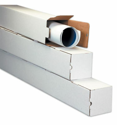 50 - 2 x 2 x 37 White Corrugated Square Mailing Tube Shipping Storage Tubes