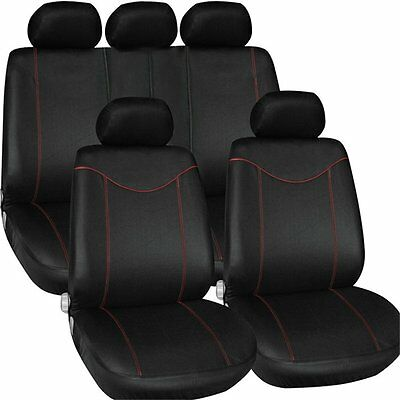 Universal Front Back Fabric Car Seat Covers Full Set Protector Mat Cushion Black